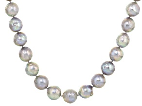 Pre-Owned Cultured Freshwater Pearl With Cubic Zirconia Rhodium Over Silver Necklace 13-14mm