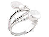 Pre-Owned White Cultured Freshwater Pearl Rhodium Over Silver Bypass Ring