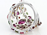 Pre-Owned Multi-Gem Sterling Silver Ring 3.98ctw