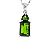 Pre-Owned Green Chrome Diopside Sterling Silver Pendant With Chain 2.85ctw