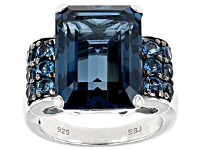Pre-Owned London Blue Topaz Rhodium Over Silver Ring 12.81ctw