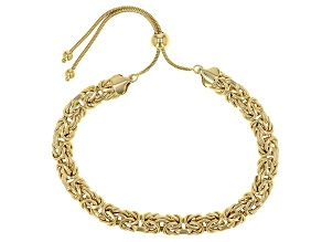 Pre-Owned 18k Yellow Gold Over Sterling Silver Byzantine Adjustable Bracelet