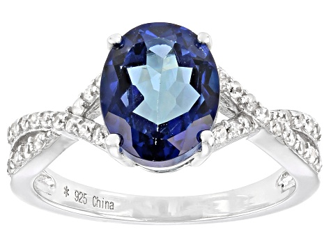 Pre-Owned Blue Danburite Rhodium Over Silver Ring 2.95ctw