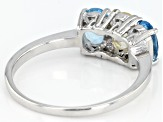 Pre-Owned Swiss Blue Topaz Rhodium Over Silver Ring 1.30ctw