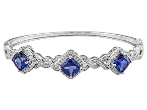 Pre-Owned Blue And White Cubic Zirconia Silver Bracelet 12.76ctw