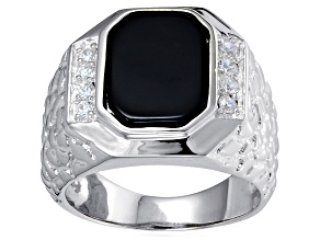 Pre-Owned Bella Luce® Diamond Simulant & Black Onyx Rhodium Over Silver Gents Ring