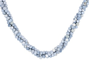 Pre-Owned Blue Opal Rhodium Over Sterling Silver Twisted Strand Necklace