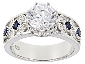 Pre-Owned Synthetic Blue Spinel & White Cubic Zirconia Rhodium Over Silver Ring 3.99ctw
