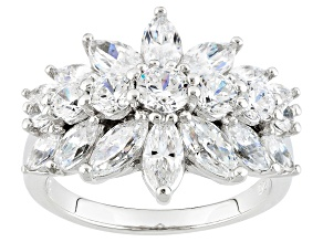 Pre-Owned Cubic Zirconia Platinum Over Silver Ring 3.37ctw (2.87ctw DEW)