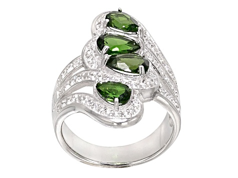 Pre-Owned Green Russian Chrome Diopside And White Zircon Sterling Silver Bypass Ring 2.88ctw