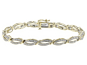 Pre-Owned White Diamond 14k Yellow Gold Over Sterling Silver Bracelet .25ctw