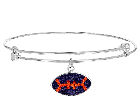 Pre-Owned Preciosa Crystal Orange And Purple Football Charm Bangle Bracelet