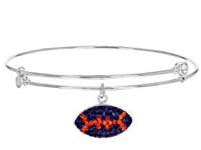 Pre-Owned Preciosa Crystal Orange And Purple Football Charm Bangle Bracelet