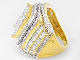 Pre-Owned Cubic Zirconia 18k Yellow Gold Over Silver Ring 8.44ctw (5.54ctw DEW)