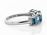Pre-Owned London blue topaz rhodium over silver ring 3.09ctw