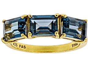 Pre-Owned London blue topaz 18k gold over silver ring 3.09ctw