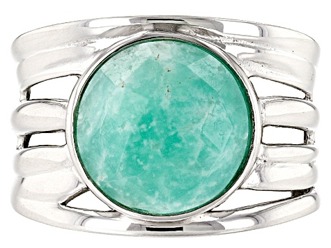 Pre-Owned Green amazonite sterling silver solitaire ring