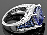 Pre-Owned Blue And White Cubic Zirconia Rhodium Over Sterling Silver Ring 9.87ctw