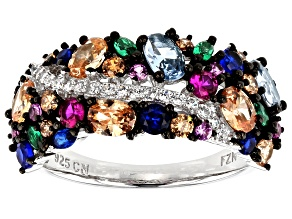 Pre-Owned Emerald Simulant, Synthetic Blue Spinel, & Multicolor Cubic Zirconia Rhodium Over Silver R