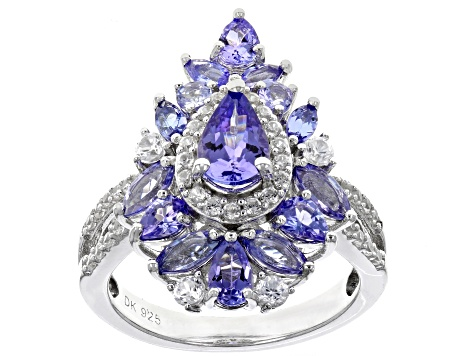 Pre-Owned Blue tanzanite rhodium over silver ring 2.62ctw