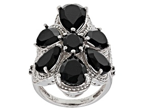 Pre-Owned Black Spinel Rhodium Over Silver Ring 10.63ctw