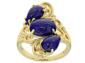 Pre-Owned Blue lapis lazuli 18k gold over silver ring