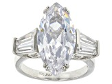 Pre-Owned White Cubic Zirconia Rhodium Over Sterling Silver Ring 13.75ctw