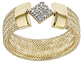 Pre-Owned 0.09ctw Diamond Simulant Square 10k Yellow Gold Large Mesh Ring