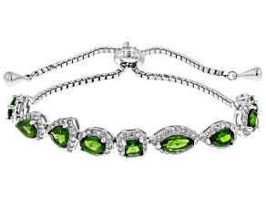 Pre-Owned Green Chrome Diopside Sterling Silver Bracelet 6.04ctw