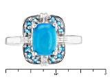Pre-Owned Blue Ethiopian Opal Sterling Silver Ring. .64ctw