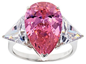 Pre-Owned Pink And White Cubic Zirconia Rhodium Over Sterling Silver Ring 19.76ctw
