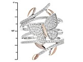 Pre-Owned White Cubic Zirconia Rhodium & 18k Rose Gold Over Sterling Silver Ring 1.08ctw
