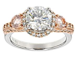 Pre-Owned Moissanite And Morganite Platineve And 14k Rose Gold Two Tone Ring 2.64ctw DEW.