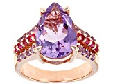 Pre-Owned Lavender Bolivian amethyst 18k rose gold over silver ring 4.16ctw
