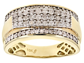 Pre-Owned white diamond 10k yellow gold gents ring .90ctw