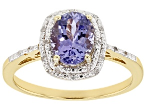 Pre-Owned Blue tanzanite 18k gold over silver ring 1.05ctw