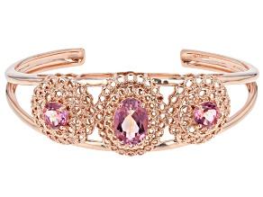 Pre-Owned Pink Salmon Sensation™ Quartz Copper Cuff Bracelet 9.77ctw