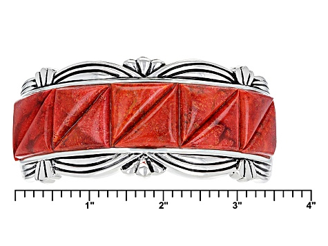 Pre-Owned Red Sponge Coral Silver Cuff Bracelet