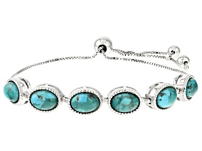 Pre-Owned Blue Turquoise Sterling Silver Sliding Adjustable Bracelet