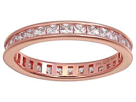 Pre-Owned Bella Luce® 1.96ctw Princess Diamond Simulant 18k Rose Gold Over Silver Ring
