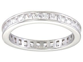 Pre-Owned Bella Luce® 1.96ctw Princess Diamond Simulant Rhodium Over Silver Ring