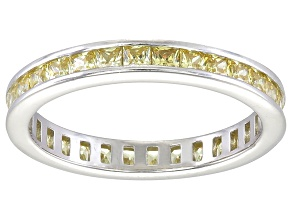 Pre-Owned Bella Luce® 1.96ctw Princess Yellow Diamond Simulant Rhodium Over Silver Ring