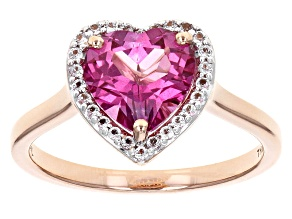 Pre-Owned Pure Pink™ Topaz 10k Rose Gold Heart Ring 1.78ctw