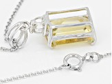 Pre-Owned Yellow Brazilian Citrine Rhodium Over Sterling Silver Pendant With Chain 7.35ctw