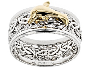 Pre-Owned Sterling Silver And 18K Yellow Gold Over Sterling Silver Dolphin Byzantine Wide Band Ring
