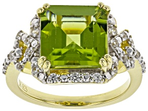 Pre-Owned Green peridot 18k gold over silver ring 4.33ctw