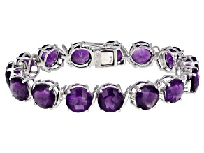 Pre-Owned Purple amethyst rhodium over sterling silver bracelet 48.45ctw