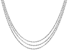 Pre-Owned Sterling Silver Diamond Cut Criss Cross Link Chain Set Of Three 18, 20, 22 inch