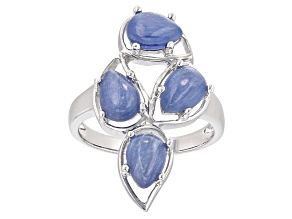 Pre-Owned Blue Kyanite Sterling Silver 4-Stone Ring
