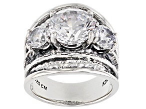 Pre-Owned White Cubic Zirconia Rhodium Over Sterling Silver 3 Stone Ring 8.97ctw